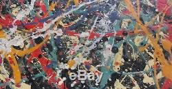 1951 Jackson Pollock Abstract Painting Signed on Wood