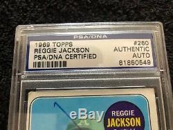 1969 Topps #260 REGGIE JACKSON Auto Rookie- PSA/DNA SIGNED AUTOGRAPH RC