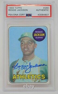 1969 Topps #260 Reggie Jackson Rookie PSA/DNA Authentic Signed Autographed