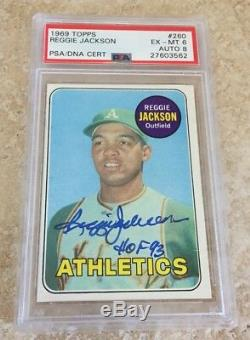 1969 Topps #260 Reggie Jackson Signed ROOKIE Card HOF 93 PSA EX-MT 6 AUTO 8