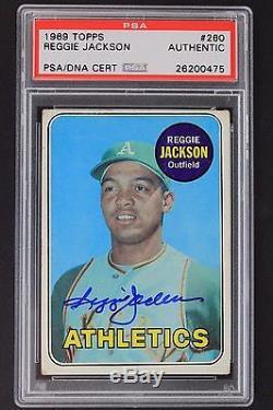 1969 Topps Reggie Jackson HOF Autographed Signed Baseball ROOKIE RC Card PSA