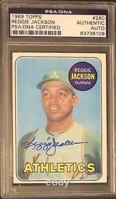 1969 Topps Reggie Jackson Signed Rc Rookie Card #260 Psa Dna Authentic Auto