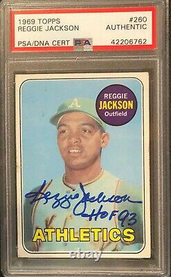 1969 Topps Reggie Jackson Signed Rc Rookie Card Psa Dna Auto Inscribed Hof 93