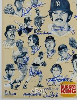 1978 Yankees Team Signed Original Burger King 17x22 Poster Reggie Jackson Goose