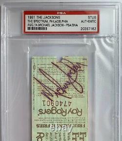 1981 Jackson 5, Michael Jackson Signed Autographed Concert Ticket. PSA