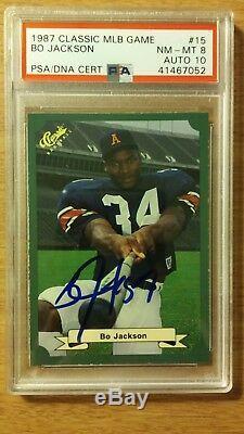 1987 Classic MLB Game #15 Bo Jackson Signed AUTO PSA/DNA NM-MT 8 AUTO 10