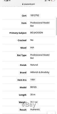 1991 Bo Jackson Game Used Issued Bat Chicago White Sox Royals Signed! JSA LOA