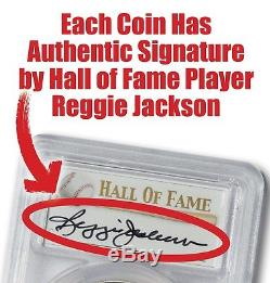 2014-P Baseball HOF Silver $1 - PCGS MS69 - Hand Signed By Reggie Jackson