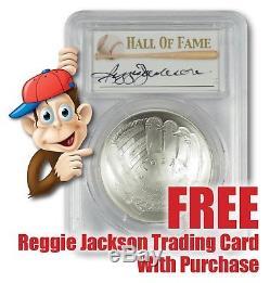 2014-P Baseball HOF Silver $1 - PCGS MS70 - Hand Signed By Reggie Jackson