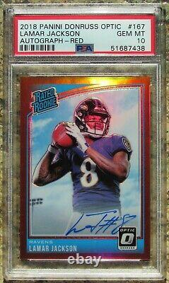 2018 Lamar Jackson Optic Red Holo Refractor Rc/auto/50 Psa 10 Rated Rookie Card