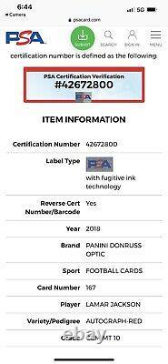 2018 Lamar Jackson Panini Donruss Optic Auto Autograph Red Rookie RC PSA 10 #/50