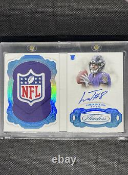 2018 Panini Flawless Lamar Jackson ROOKIE RC PATCH AUTO NFL SHIELD 1/1 Booklet