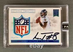 2019 Panini National Treasures Lamar Jackson 1/1 NFL Shield Patch Autograph Sign