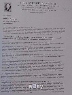 Andrew Jackson Document 22 Words In His Hand Signed J H- For Jackson & Hutchings