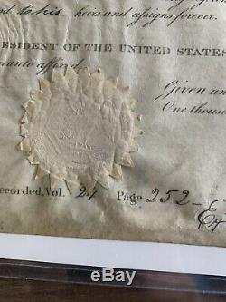 Andrew Jackson Signed Land Grant 1835 Entact Seal Aithenticated