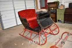 Antique 2 Passenger Cutter Sleigh & Shafts Primitive Santa Sled, Jackson Mich