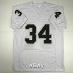 Autographed/Signed BO JACKSON Oakland White Football Jersey Beckett BAS COA Auto