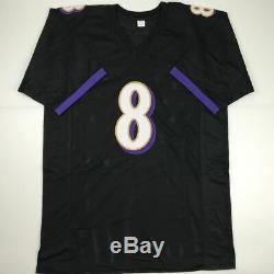 Autographed/Signed LAMAR JACKSON Baltimore Black Football Jersey JSA COA Auto