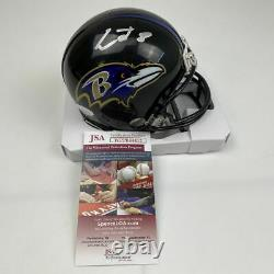 Autographed/Signed LAMAR JACKSON Baltimore Ravens Football Mini Helmet JSA COA