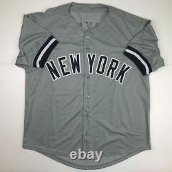 Autographed/Signed REGGIE JACKSON New York Grey Baseball Jersey JSA COA Auto