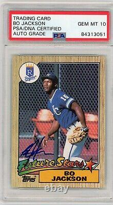BO JACKSON 1987 TOPPS Rookie SIGNED AUTOGRAPHED CARD #170 PSA 10 ROYALS RC