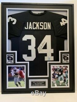BO JACKSON, AUTOGRAPHED LOS ANGELES RAIDERS FRAMED JERSEY with BECKETT COA