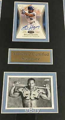 BO JACKSON BROKEN BAT Autographed SIGNED Card WITH 8x10 PHOTO FRAMED KNOWS SCORE