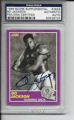 BO JACKSON Raiders Autograph Signed 1989 Score Supplemental #384S PSA authentic