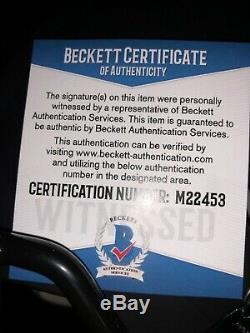 BO JACKSON Signed Full Size Matte Black Helmet Beckett Authenticated