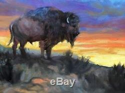 BUFFALO BISON Yellowstone Jackson Hole Sunset WESTERN ART Original Oil painting