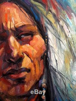 Blackfoot Native American SUN MAN Medicine Jackson Hole WY Western Original Oil