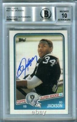 Bo Jackson 1988 Topps Football Autograph Auto Rookie Card #327 BAS 10