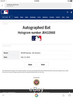 Bo Jackson Autograph Signed Louisville Slugger Bat (MLB Authenticated)