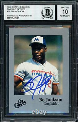 Bo Jackson Autographed 1986 Time Out Rookie Card Gem 10 Auto Beckett 187401
