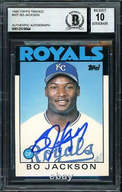 Bo Jackson Autographed 1986 Topps Rookie Card Royals Gem 10 Auto Beckett 187402