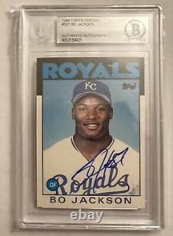 Bo Jackson Autographed 1986 Topps Traded Rookie Card Auto Beckett Graded