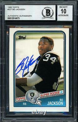 Bo Jackson Autographed 1988 Topps Rookie Card #327 Gem 10 Auto Beckett 187406