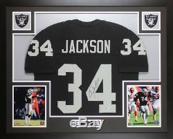 Bo Jackson Autographed & Framed Black Raiders Jersey Auto Beckett COA