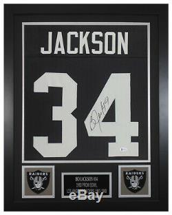 Bo Jackson Autographed & Framed Black Raiders Jersey Beckett COA D4-S