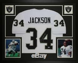 Bo Jackson Autographed & Framed White Raiders Jersey Auto Beckett COA D17