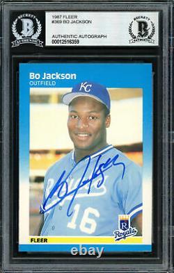 Bo Jackson Autographed Signed 1987 Fleer Rookie Card #369 Royals Beckett 187369