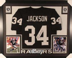 Bo Jackson Autographed/Signed Oakland Raiders Framed Black Jersey BAS 20170