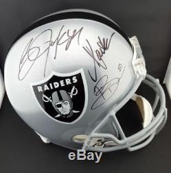 Bo Jackson Marcus Allen Tim Brown Autographed Signed Raiders F/S Helmet PSA