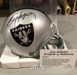 Bo Jackson NFL Oakland Raiders Autographed Mini Helmet Leaf Cert