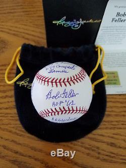 Bob Feller Signed Stat Ball-16 Inscriptions-Reggie Jackson. Com Certificate-COA