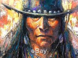COWBOY Native American Hat Southwest Jackson Hole Original Oil painting West