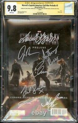 Captain America Civil War #3 Photo CGC 9.8 SS Cast Signed 7x Evans, Jackson, +5