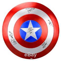 Chris Evans, Samuel L. Jackson, Captain America Cast Autographed EFX Shield