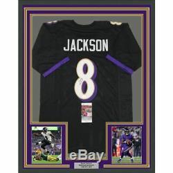 FRAMED Autographed/Signed LAMAR JACKSON 33x42 Baltimore Black Jersey JSA COA