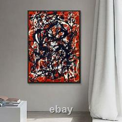 Framed Abstract Artwork Free Form by Jackson Pollock Giclee Art Print 28x40